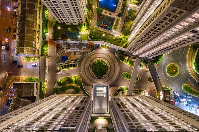 foto city scape gedung tinggi