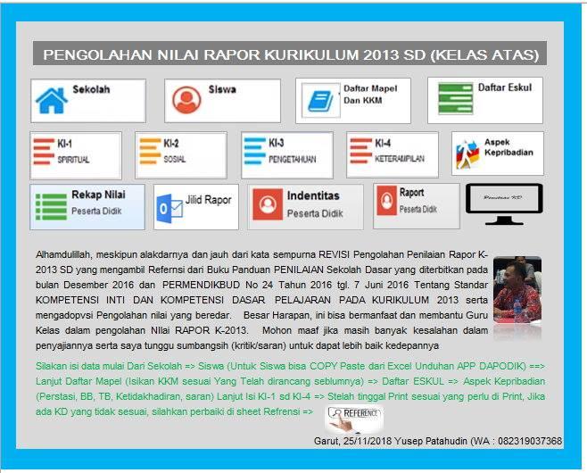 Aplikasi Olah Raport Kurikulum 2013 Kelas Atas
