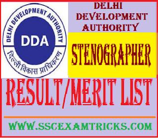 DDA Delhi Stenographer Result