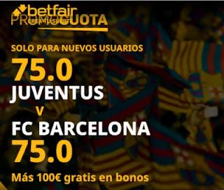 promocuota betfair Juventus v Barcelona 28-10-2020