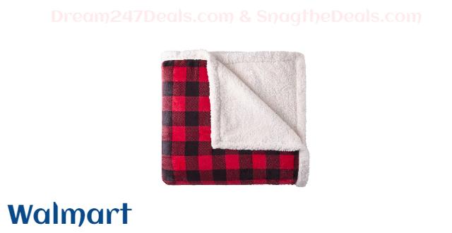Better Homes & Gardens Full/Queen Sherpa Blanket, Red & Black Buffalo Plaid