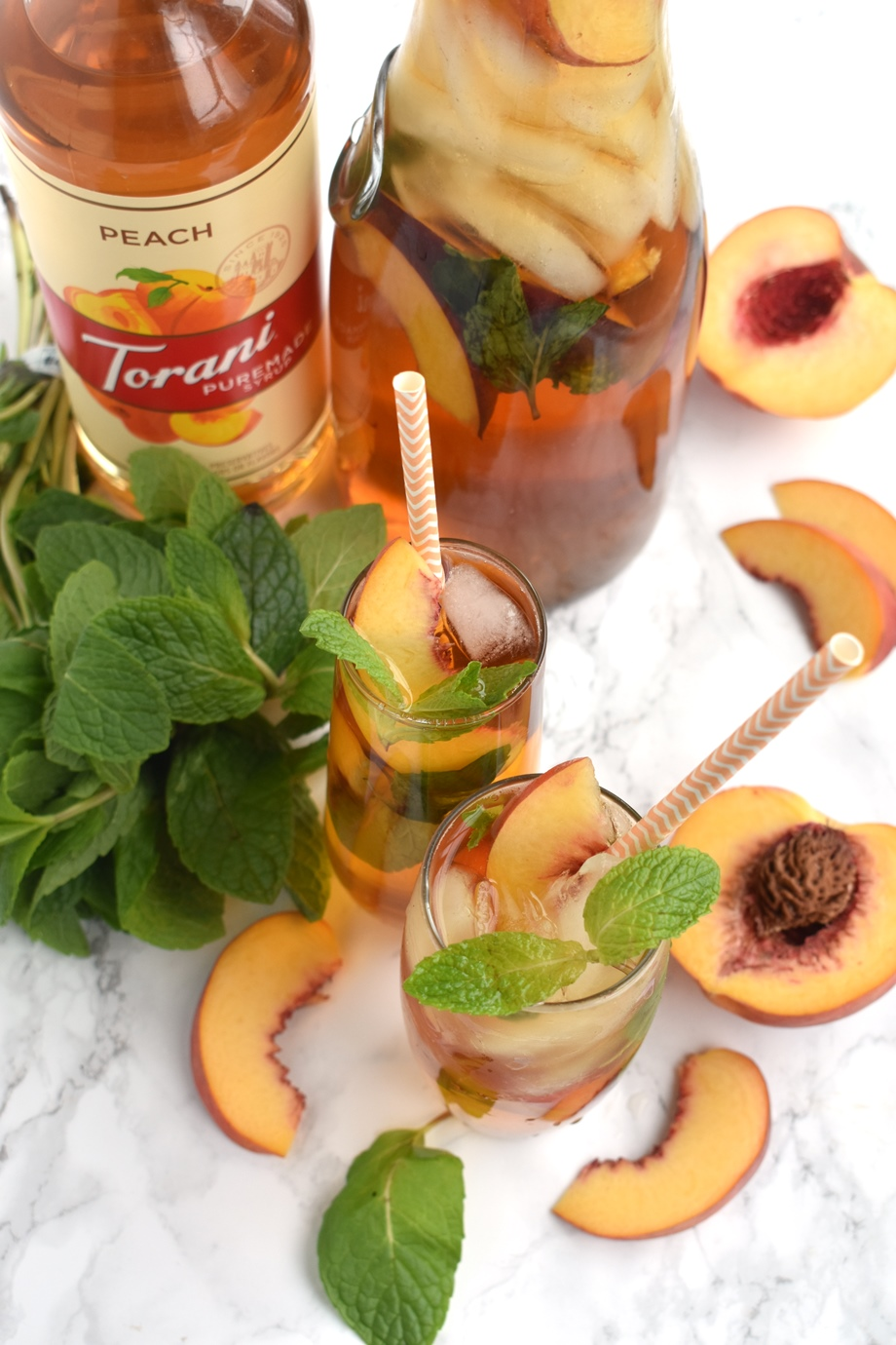 refreshing peach mint iced tea