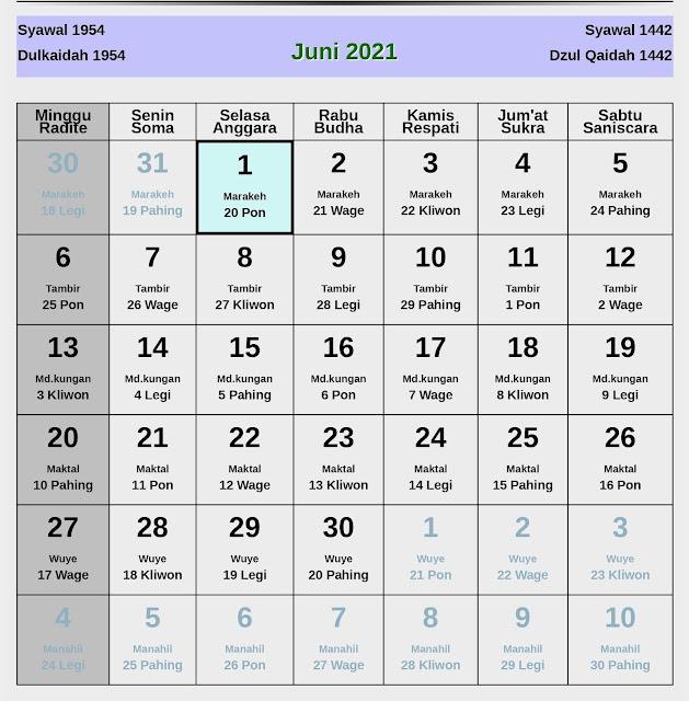 Kalender Jawa Juni 2021 Lengkap Hari Baik dan Jelek