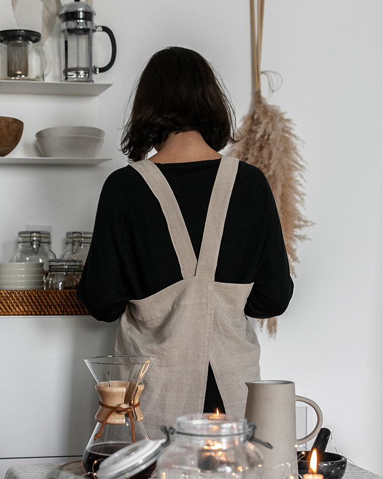 Handmade quality linen for the kitchen, bedroom linen, bathroom linen, eco-friendly linen, OEKO-tex certified European linen, Magic Linen. Striped linen tablecloth, linen cross-back apron, Japanese apron. Styling and photoshoot by Eleni Psyllaki for My Paradissi