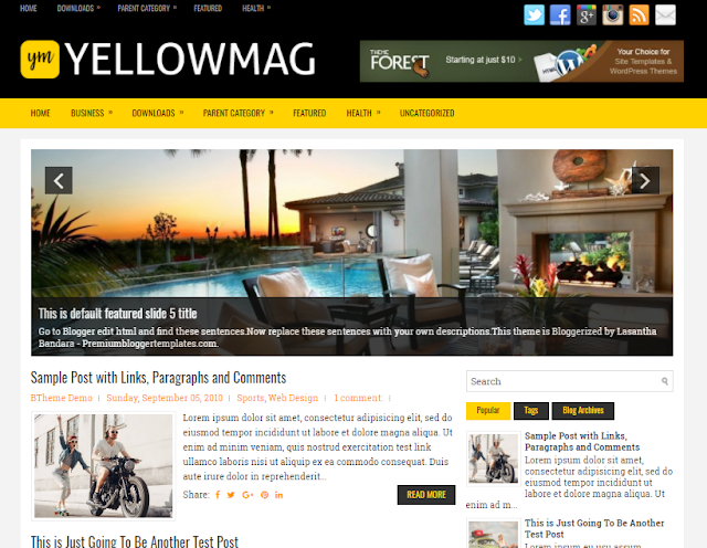 Columns Blogger Template alongside a Right Sidebar in addition to  Free Download YellowMag Blogger Template