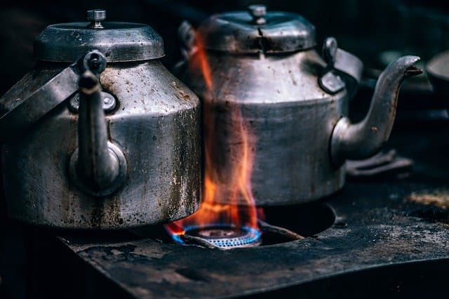 kettles on the stove