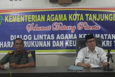 Kakankemenag Tanjungbalai Buka Dialog Lintas Agama Tingkat Kecamatan