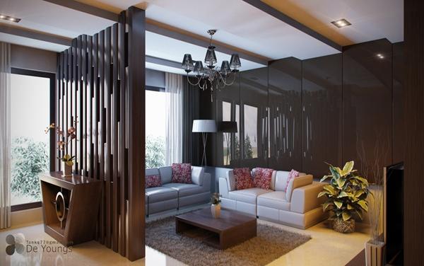 Desain Foyer : Desain ruang tamu cantik warna coklat rancangan