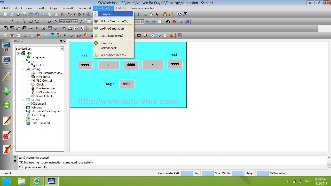 Biên dịch một chương trình cho HMI Samkoon trên phầm mềm SKWorkshop