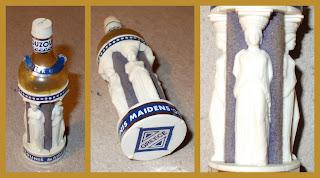 Bottle With Four Caryatids; Caryatid; Columns; Four Caryatids; Greek Columns; Greek Statue; Greek Vintage Novelty; Maiden Ouzo Bottle; Miniature; Miniature Bottle; Novelties; Novelty Figurines; Novelty Miniature; Old Plastic Novelty; Ouzo Bottle; Ouzounis Maiden Ouzo; Ouzounis Miniature Bottle; Plastic Vintage Novelty; Small Scale World; smallscaleworld.blogspot.com; Vintage Plastic;