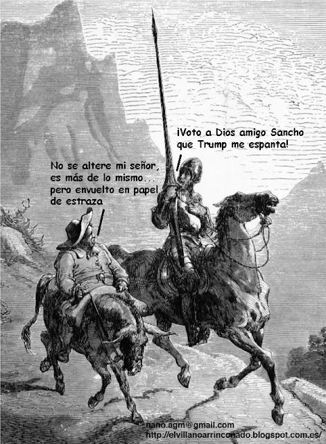 el villano arrinconado, humor, chistes, reir, satira, Quijote, Donald Trump