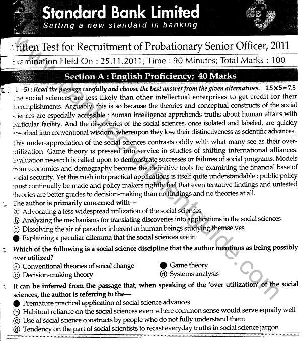 Standard Bank Recruitment Test Answers for Probationary