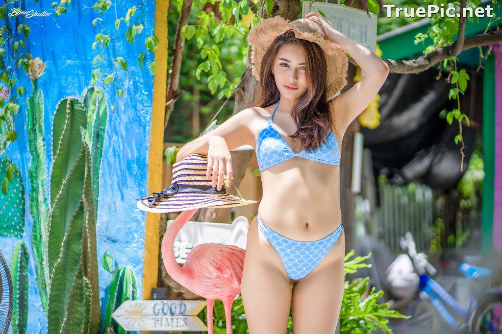 Image Thailand Model - Poompui Tarawongsatit - Summer Blue Bikini Set - TruePic.net - Picture-1