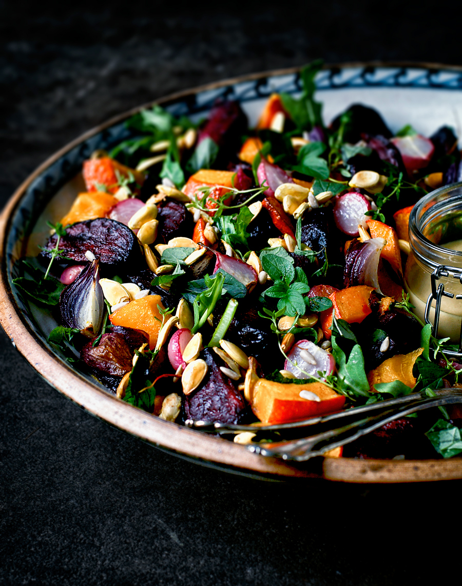 This pumpkin salad is from Nina Olsson's new book, Bowls of Goodness, featuring vegetarian recipes in bowl form for easy, healthy meal ideas. The salad is packed with seasonal veg like beets and radishes, then topped with a gorgeous creamy tahini dressing - autumn in a bowl.