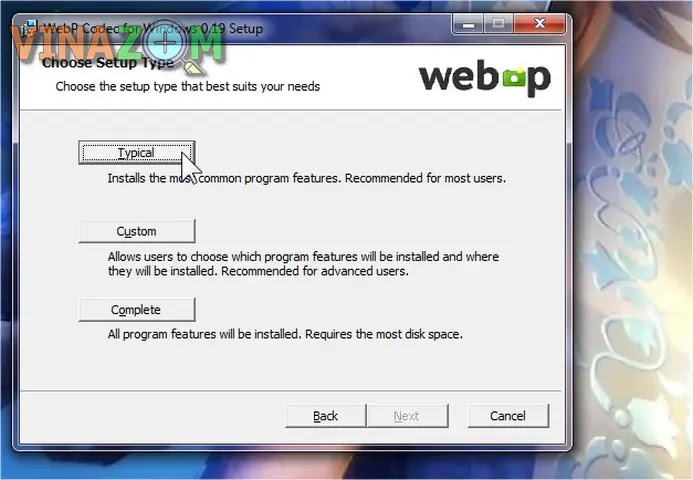 cài đặt WebpCodecSetup bước 3