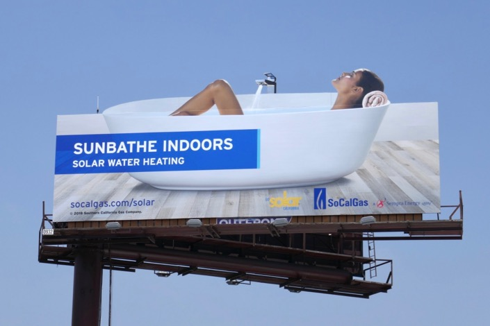 Sunbathe indoors Solar Water Heating bathtub billboard