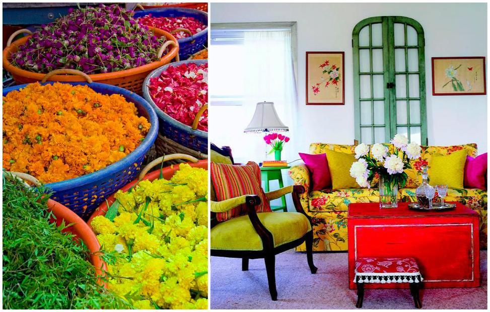 Colores vivos y llamativos en la decoración del salón