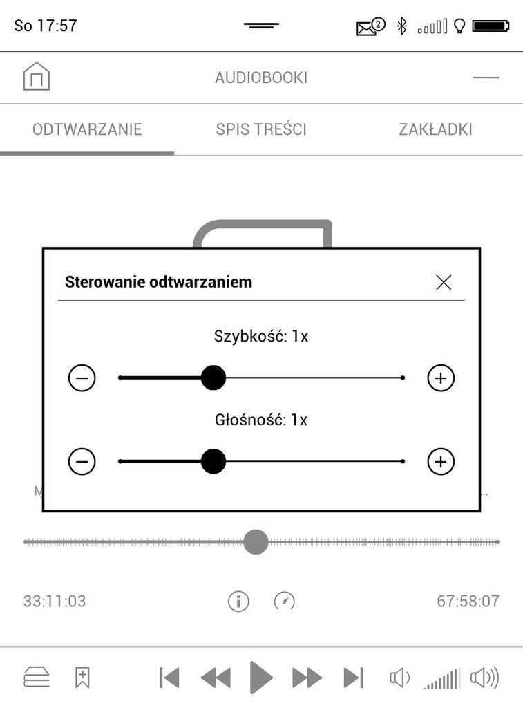 PocketBook Touch HD 3 – ustawienia szybkości odtwarzania i tonacji głosu