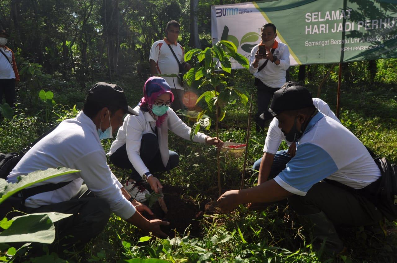 ADM Perhutani KPH Parengan, Setyo Salaidra Putri, saat mempimpin rangkaian kegiatan dengan karyawan pembagian bibit dan tanam pohon, Selasa (23/03/2021) ( Foto: Ahmad)