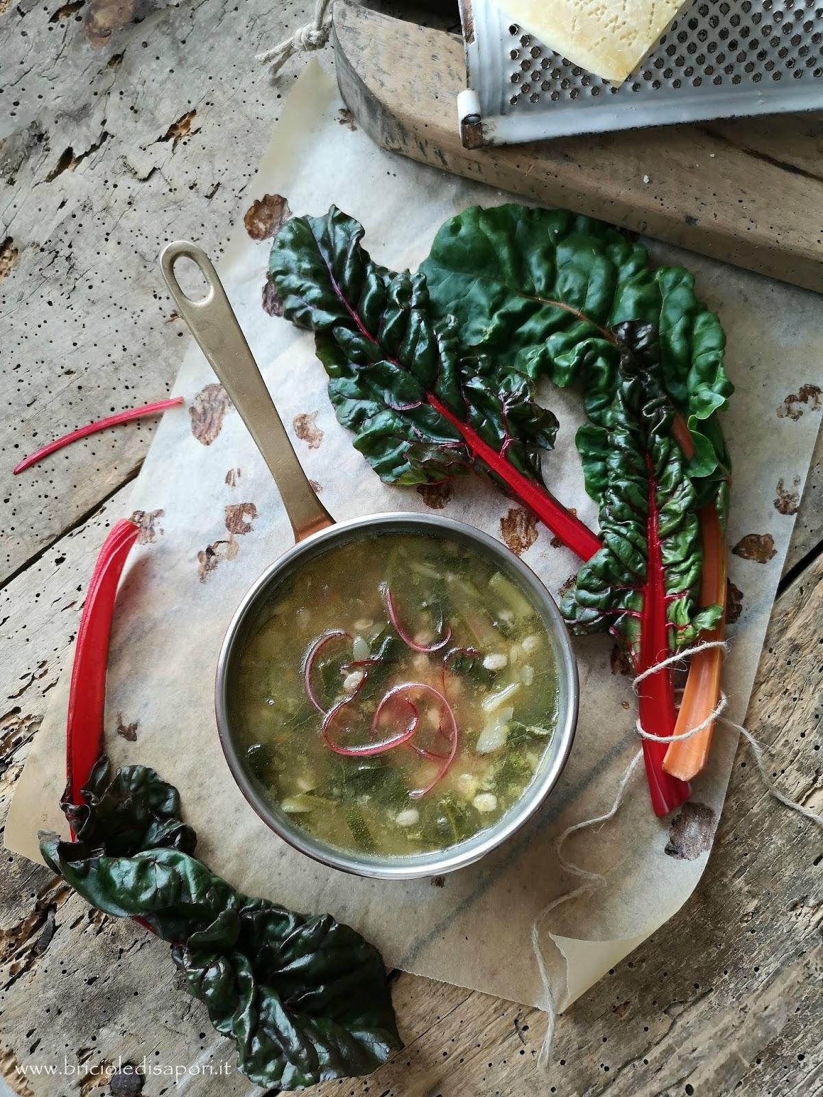 minestra d'orzo con bietole colorate