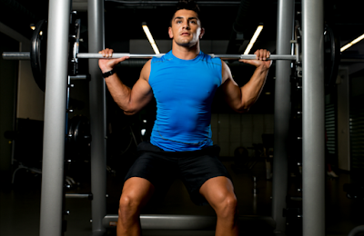 Next move to a smith machine or a bench with a barbell and take a close grip about shoulders width, this can also be done with a press up with body weight or with a rucksack with weights in.