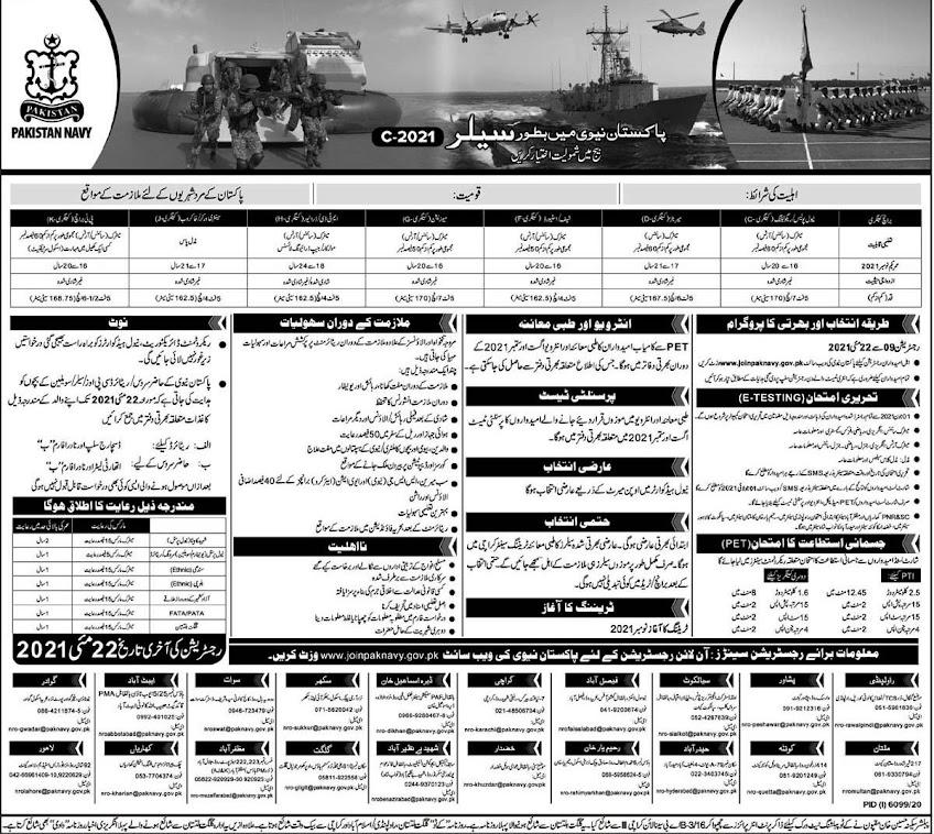 Latest Jobs in Pakistan Navy 2021-Join Pak Navy -Apply online