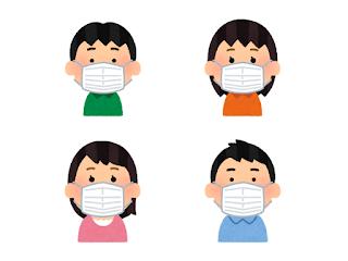 マスクをする人々