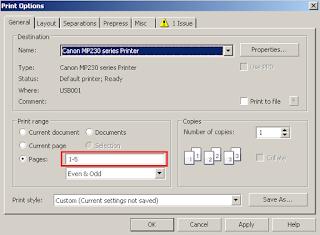 cara print dokumen menurut page di coreldraw melalui printer canon mp237