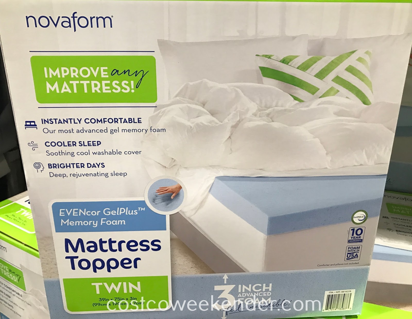 Sleep better in bed with the EVENcor Gel-Plus Memory Foam Mattress Topper (Twin)