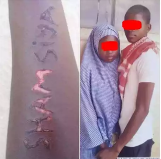 (Graphic Photos) See What This Boy Did To Show That He Loves His JSS Girlfriend