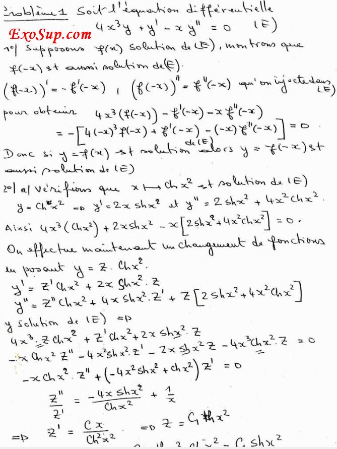 exercices corrigés des équations différentielles