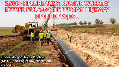 2,500+ Pipeline Construction workers Needed for 430-mile Permian Highway Pipeline Project.
