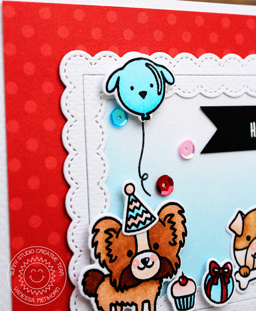 Sunny Studio Stamps: Party Pups Fancy Frames Rectangle Happy Birthday Card by Vanessa Menhorn