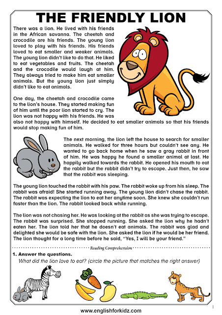 Reading comprehension passage about a rabbit and a lion who did not like eating animals