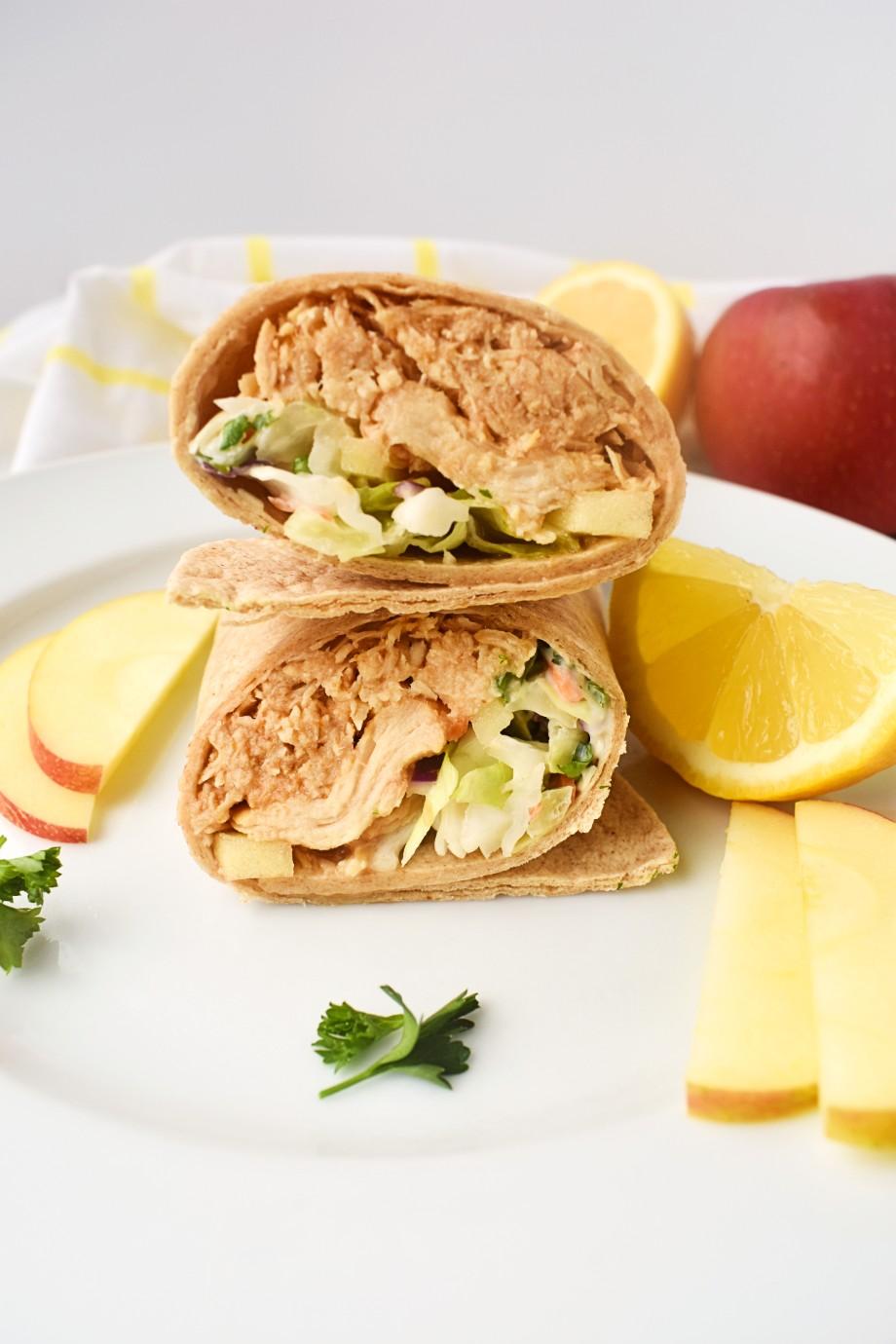 BBQ Chicken Wraps with Lemon Coleslaw