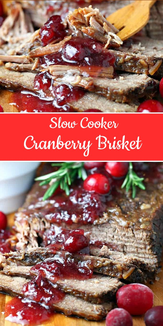 SLOW COOKER CRANBERRY BRISKET #SlowCooker #Beef #Cranberry #Brisket #Dinner #Holiday