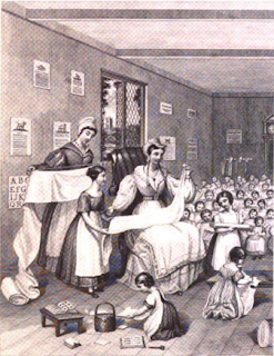 Sewing class, c. 1830s, from The Workwoman's Guide.