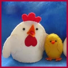 Gallina y pollito en fieltro