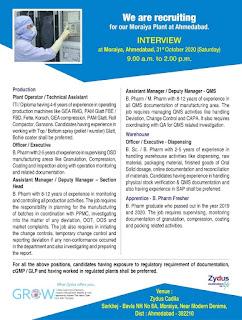 Zydus Cadila Healthcare Ltd Moraiya Plant at Ahmedabad Walk In Interview For ITI/Diploma/B. Pharm/M. Pharm/B.Sc Candidates