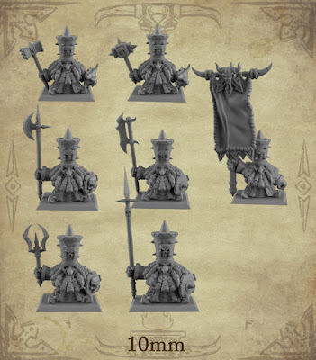 x26 Dwarf Warrior models. Includes 1 Dwarf Sergeant and 1 Dwarf Standard Bearer