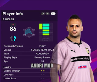 PES 2020 Faces Fabrizio Miccoli by Andri Mod