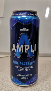 A can of Summit Ampli Blue Razzberry Energy Drink, a Special Buy from Aldi stores.