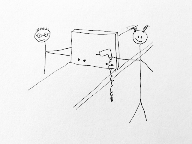 stick figure drawing of drilling pocket holes