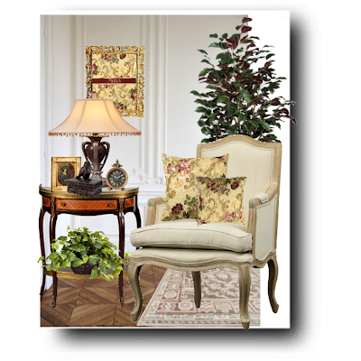 Vintage Style Roses with Gold Throw Pillow