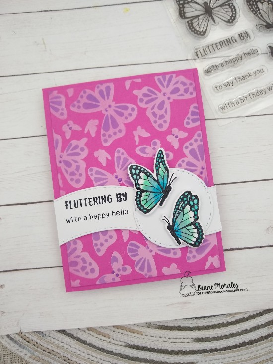 Fluttering by with a happy hello by Diane features Monarchs, Butterflies, Land Borders, and Circle Frames by Newton's Nook Designs; #newtonsnook, #handmade