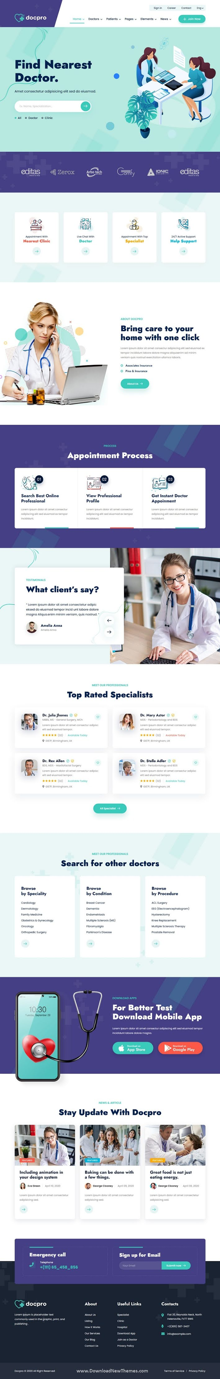 Doctors directory and Book Online Template
