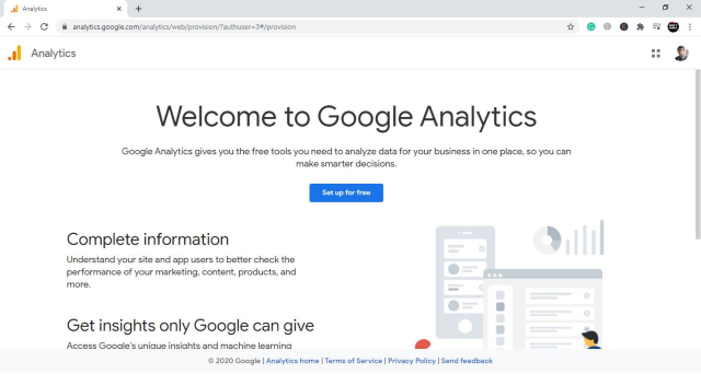 Google Analytics welcome page