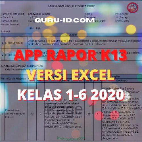 gambar Aplikasi Rapor k13 SD/Mi Versi Excel kelas 1 2 3 4 5 6