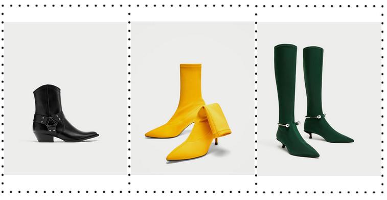 buty na jesień 2017, zima 2017 buty, modne buty zima 2017, co nosić zimą 2017, botki w szpic, kozaki do uda