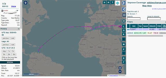 Alex Saab - El plan de vuelo del T7-JIS